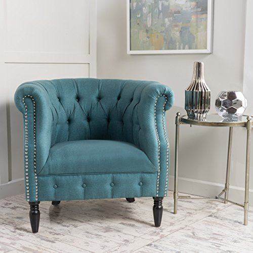 Akula Scroll Fabric Club Chair with Nail Head Accents (Dark Teal) (Chair Accent Scroll)