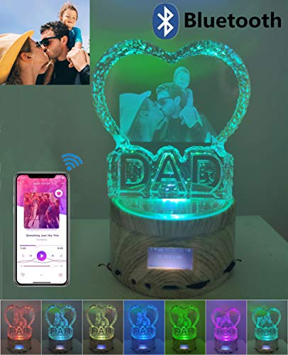 Personalized Photo Frame Rotating Music Box with Laser Engraving Heart Crystal Bluetooth Lamp Christmas Night ()