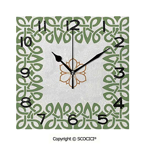Frameless Clock 3D DIY Decorative Clock Nostalgic Celtic Art Inspired Square Shape Frame Print With A Flower In The Centre 8 Inch Large Size Square Wall Clock for Living Room -