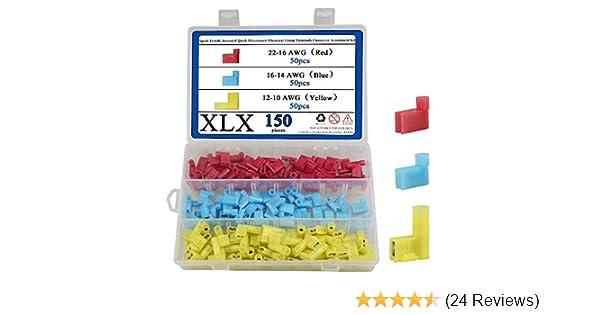 Hilitchi 100pcs 22//18 18-14 12//10 Gauge Quick Splice Electrical Terminals Connector Assortment Set