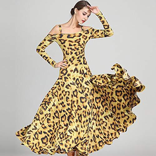 Tango Lunghe Nazionale Yellow Le Xiaoy Gonna Maniche Da Abbigliamento Ballo Performance Espansione Sala Abiti Per Vestito Valzer Donne Standard Moderno 6HwB6Uq8x