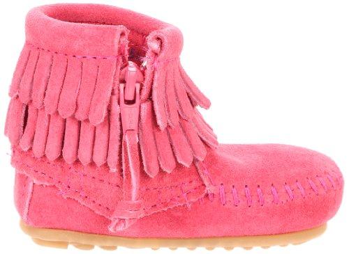 Minnetonka Double Fringe Side Zip Bootie, Mocasines para Bebés Rosa (Pink)