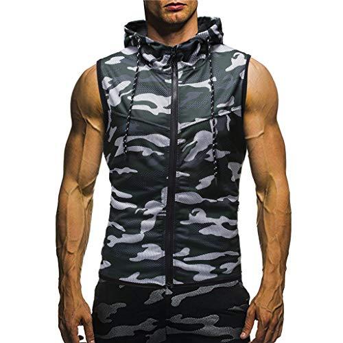 (Mens Sleeveless Hoodie Gym Tank Tops Camouflage Print Slim Fit Bodybuilding Zipper Vest Blouse (L, Green))