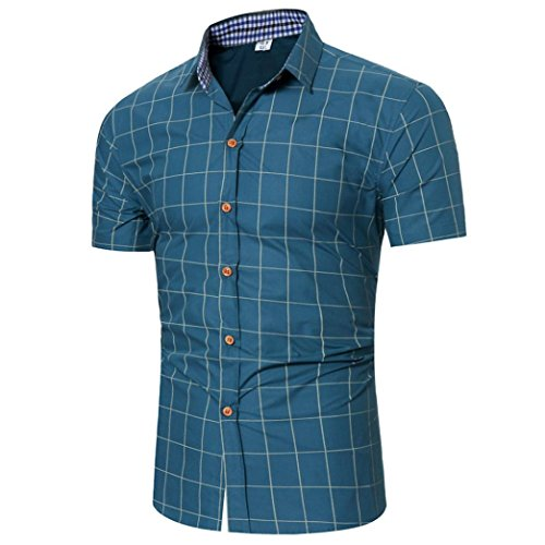 Men's Summer Top, Shybuy Men's Classic Pliad Button Down Top Slim Fit Business Casual Short-Sleeved Check Shirt (Blue, XL)