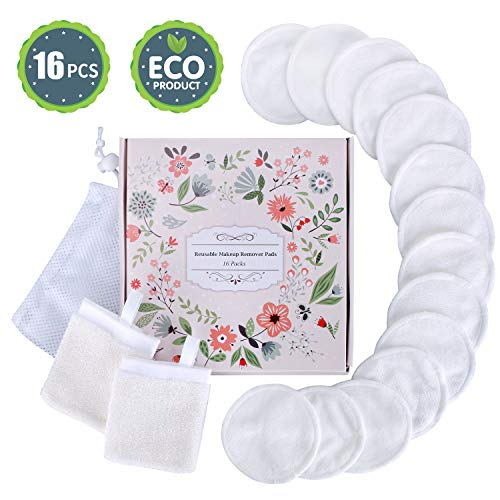 Eye Makeup Remover Pads + Facial Cleansing Mitten with Laundry Bag, Reusable Organic Cotton Rounds- Soft Bamboo Silk