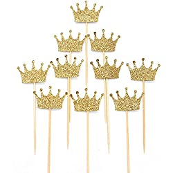 Crown Cupcake Cake Toppers Gold Glitter,20 Pcs Cake Decoration for First Birthday, Birthday Party,Wedding Food Decor and Cupcake Party Picks