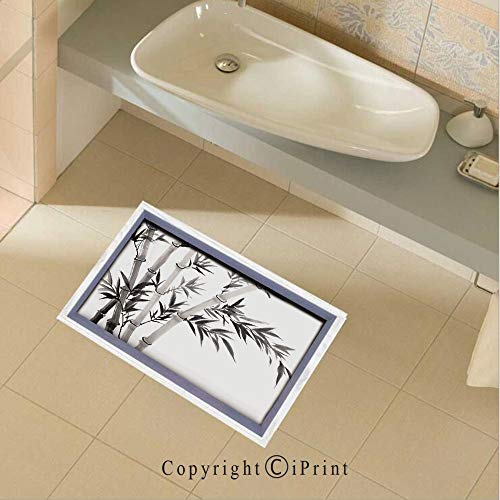 Floor Stickers Waterproof Safety Traditional Bamboo Leaves Meaning Wisdom Growth Renewal Unleash Your Power Artprint Wall Floor Decals Decor for Bathroom Kitchen Backsplash, 35.4x22.8Inch,Grey White ()