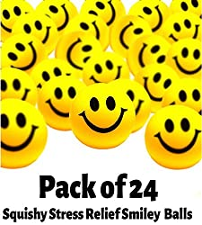 Smiley Face Stress Balls - Mega Bulk Pack Of 24 Balls - Toy Cubby Stress Relief Hand Exerciser - 1.5 Inches