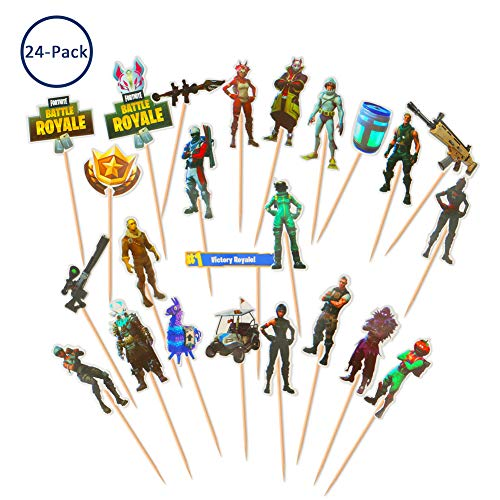 Price comparison product image 24 PCS Cake Toppers,  Echeer Cake Picks Video Game Birthday Toppers Glitter for Birthday Party Boy Children Party Decoration
