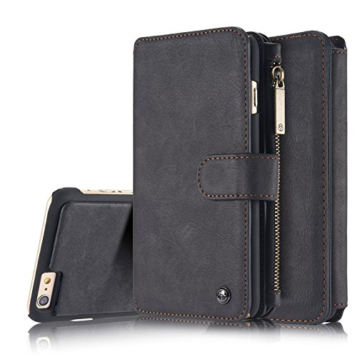 Kingto iPhone X Wallet Case,Zipper Card Slots Money Pocket Clutch Cover Zipper Wallet Purse Case Retro Vintage Stand Smart Wallet Billfold Pouch Magnetic Phone Sleeve(black)