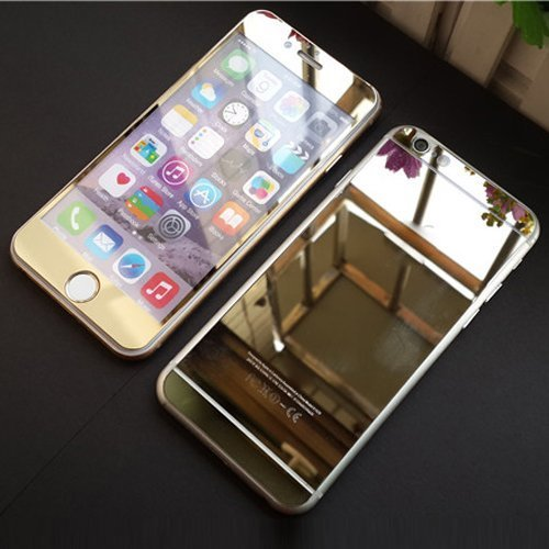 Electroplating Mirror Effect Screen Tempered Glass Screen Protector Whole Body Protection Anti Scratches For Iphone 6 4 7Inch  Front And Back   Gold