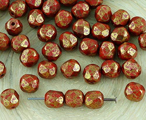 40pcs Opaque Coral Red Terracotta Bronze Round Faceted Fire Polished Spacer Czech Glass Beads 6mm