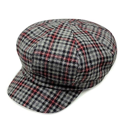 LOCOMO Women Newsboy Cap Check Houndstooth Tartan Plaid Pattern FFH370s02 by LOCOMO Hats