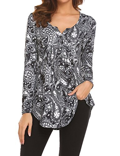 Women's Paisley Printed Long Sleeve Henley V Neck Pleated Casual Flare Tunic Blouse Shirt 3X Black