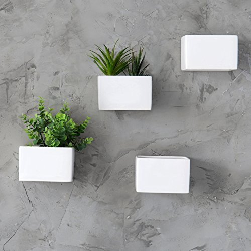 MyGift Modern White Ceramic Wall Hanging Succulent & Herb Planter Box, Set of 4 by MyGift (Image #1)