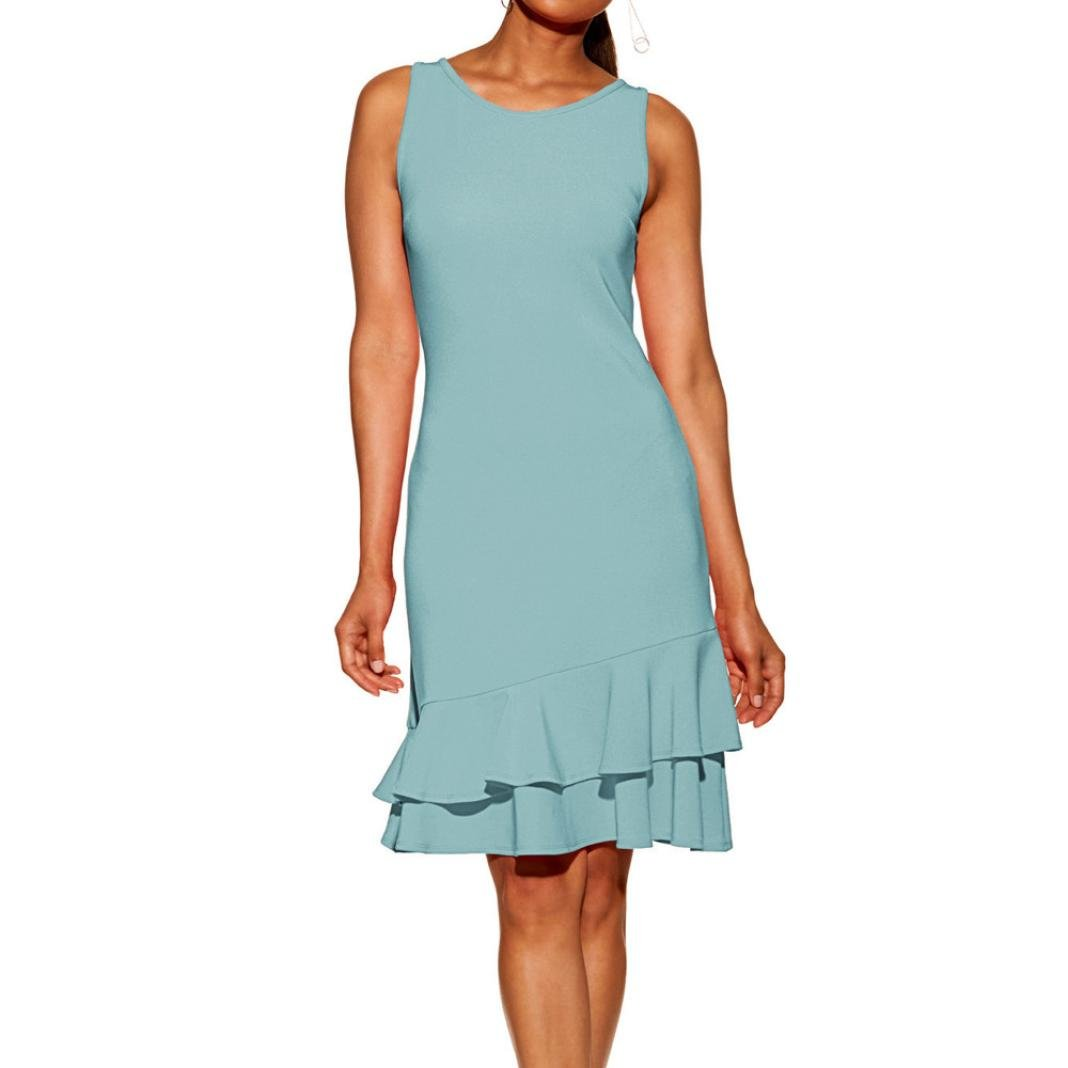Amazon.com: baskuwish Clearance! Summer Ruffle Sleeveless Dress Women Bodycon Slim fit Party Short Mini Dresses (Sky Blue, XL): Sports & Outdoors