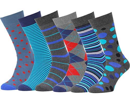 Easton Marlowe Mens Dress Socks – Fun Colorful Socks for Men – Cotton Patterned Fashion Mens Socks 6 Pack