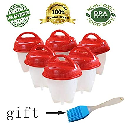 Egg boiler Egg cooker Hard boiled egg cooker Boiled egg cooker Egg cookers Food Grade Silicone Egg Boiler Hard Boiled Eggs without the Shell High-temperature Resistant BPA Free 6 Egg Cups Egg Poacher JBingGG (1-Pack)