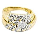 0.09 Carat (ctw) 14K Yellow Gold Round Cut White Diamond Men And Women's Cluster Engagement Ring Trio Set