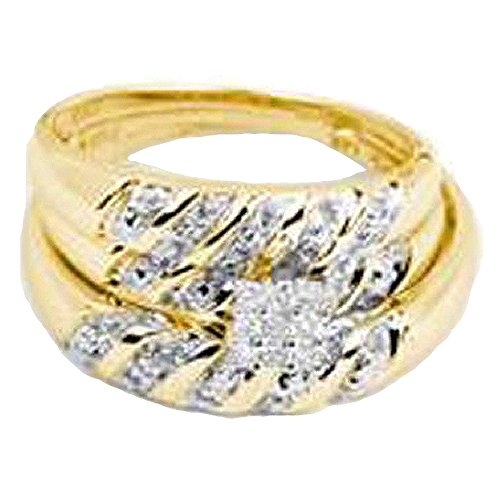 0.09 Carat (ctw) 14K Yellow Gold Round Cut White Diamond Men And Women's Cluster Engagement Ring Trio Set by DazzlingRock Collection