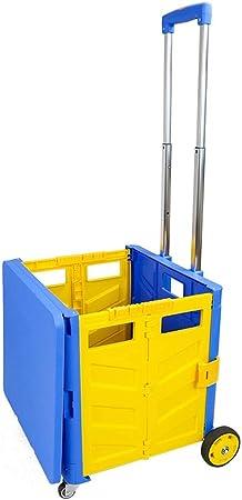 LNYJ Caja tipo carrito de la compra con tapa Carretilla de aleación de aluminio extendida Plegable