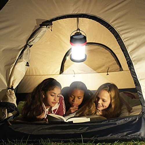 Molbory Camping Lantern Flashlight Foldable, 2 Charging Methods Solar and USB with 3 Light mods Foldable Camping lamp and Hook for Hanging for Camping, Outdoor, Hiking, Fishing, Adventure, Red