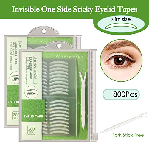 800Pcs Natural Invisible Single Side Eyelid Tape Stickers Medical-use Fiber Eyelid Lift Strip, Instant Eye Lift Without Surgery, Perfect for Uneven Mono-Eyelids, Slim