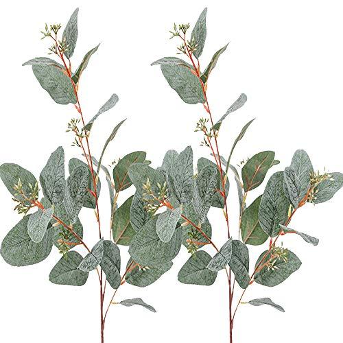 Aisamco 3 Pcs Artificial Seeded Eucalyptus Leaves Spray Faux Artificial Eucalyptus Stems Bulk in Grey Green 33