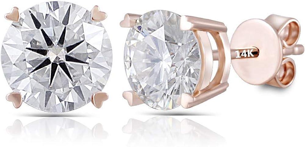 1.5 ct Brilliant Heart Cut Studs Designer Genuine Flawless Clear Simulated Diamond 14K 18K Rose Gold Earrings Push back