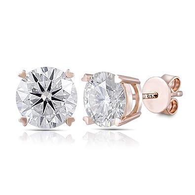 5304e402695e0 DovEggs Solid 14K Rose Gold 2ct 6.5mm GHI Color Heart Arrows Cut Moissanite  Stud Earrings Push Back for Women