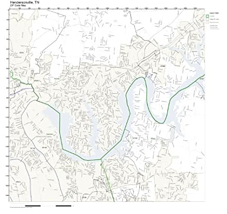 Amazon.com: ZIP Code Wall Map of Hendersonville, TN ZIP Code ... on