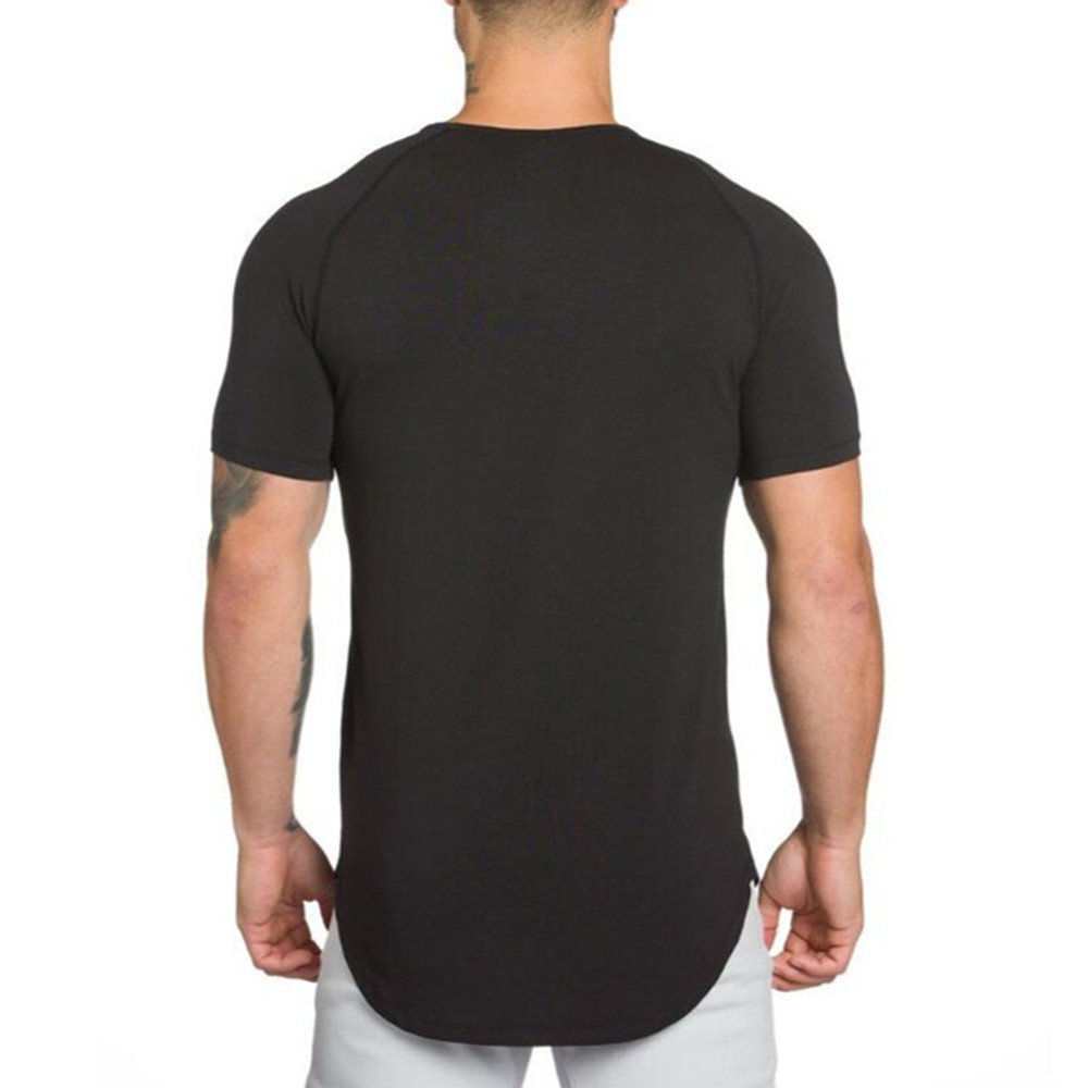 Cotton Short Sleeved T Shirt Men,Donci Comfortable Sweat Absorbent Summer New Tees Solid Color Casual Sports Crew Neck Tops
