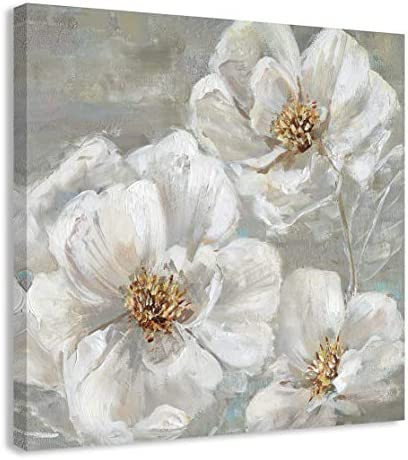 Casa Fine Arts Summer Solstice II White and Grey Transitional Floral Canvas Wall Art