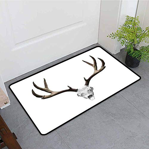 ONECUTE Print Bath Mat,Antlers Decor A Deer Skull Skeleton Head Bone Halloween Weathered Hunter Collection,All Season Universal,24