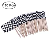 ULTNICE Pack of 100 Racing Flag Picks Checkered Flag Toothpicks Fruit Appetizer Sticks for Cocktail Party - Black and White