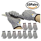 Missly Cut Resistant Gloves Food Grade Level 5 Protection,EN388/FDA,Safety Kitchen Cuts Gloves for Fish Fillet Processing, Mandolin Slicing, Meat Cutting and Wood Carving,10 Pairs,One Size Fits Most