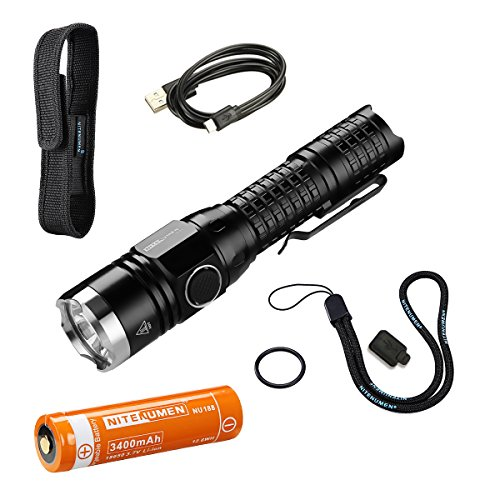 Cree XP-L (V5) LED 1060 Lumen USB Rechargeable Tactical Flashlight:Powerful Light Super Bright Waterproof Torch,3400mAh 18650 rechargeable Li-ion battery,USB charging cable and Holster-Nitenumen TP22