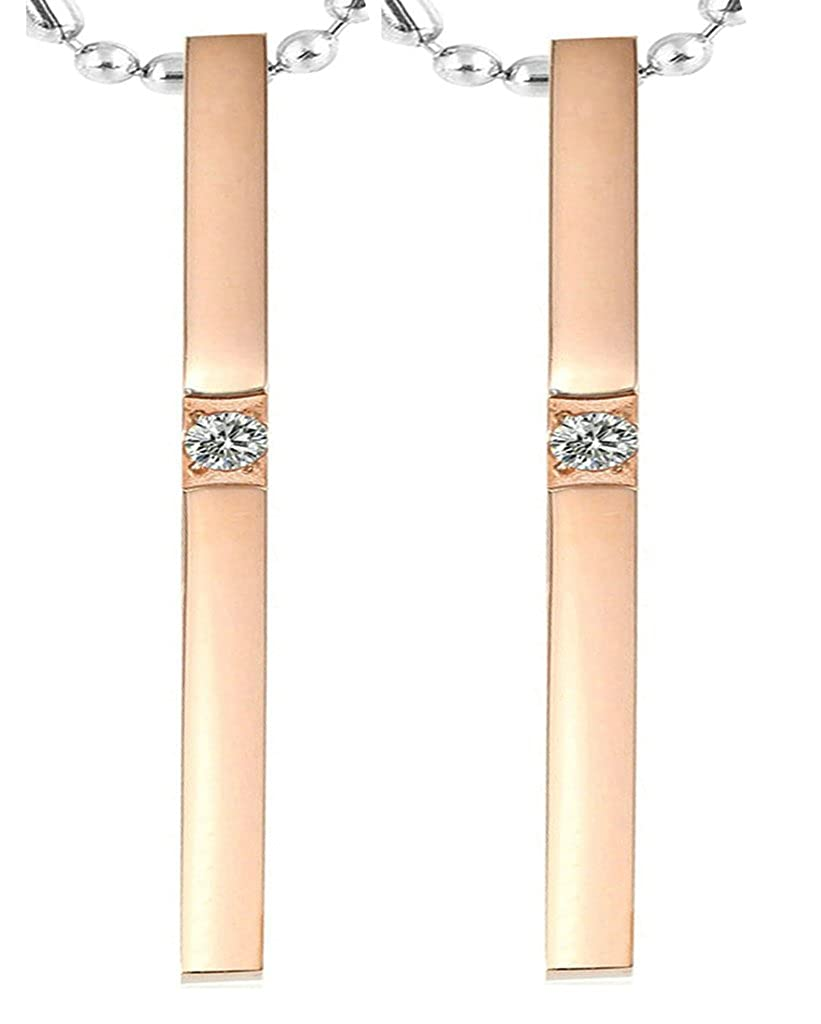 Daesar Hers /& Hers Necklace Set Couples Stainless Steel Rectangular Stick CZ Inlaid Pendant Necklace