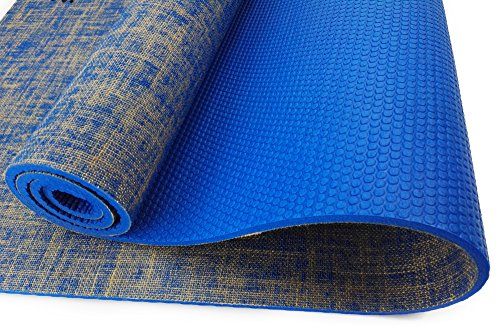 Reversible Yoga Mat Extra Long Extra Thick Made With Non Slip Jute Material Natural Mat For Yoga, Pilates, or Exercise!