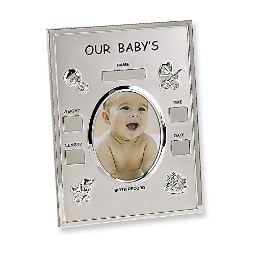 Metal Birth Record 3.5x4.5 Photo Frame (Engravable Picture Frames)