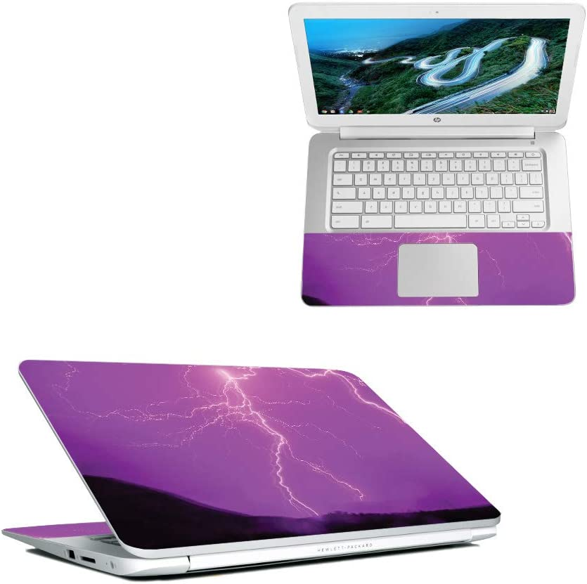 """MightySkins Skin Compatible with HP Chromebook 14"""" (2018) - Purple Lightning 