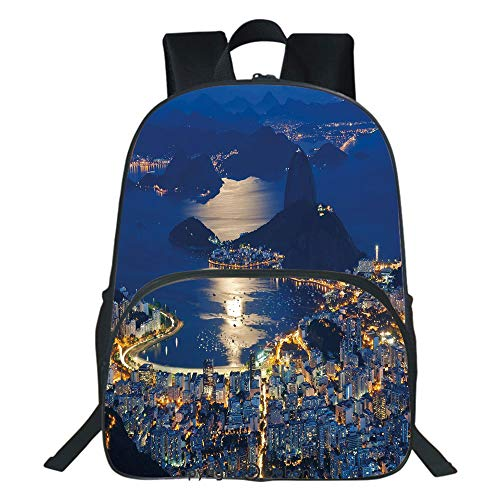 Oobon Kids Toddler School Waterproof 3D Cartoon Backpack, Aerial View of Mountain Sugar Loaf and Botafogo Rio de Janeiro, Fits 14 Inch ()
