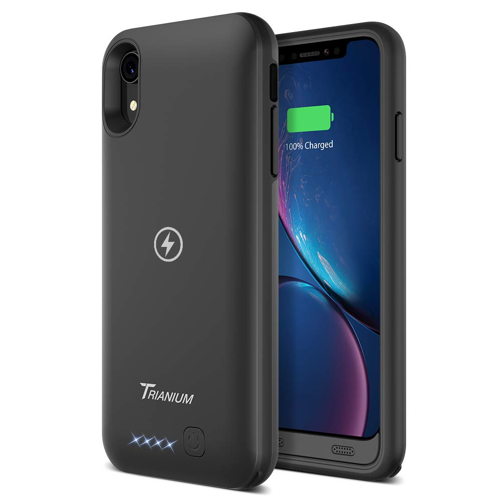 Trianium Atomic Pro 3500mAh Battery Case Compatible with Apple iPhone XR (6.1'') Case with Qi Wireless Charging Technology Rechargeable Protective Extended Power Case [Work on Wireless Charger Pad] by Trianium