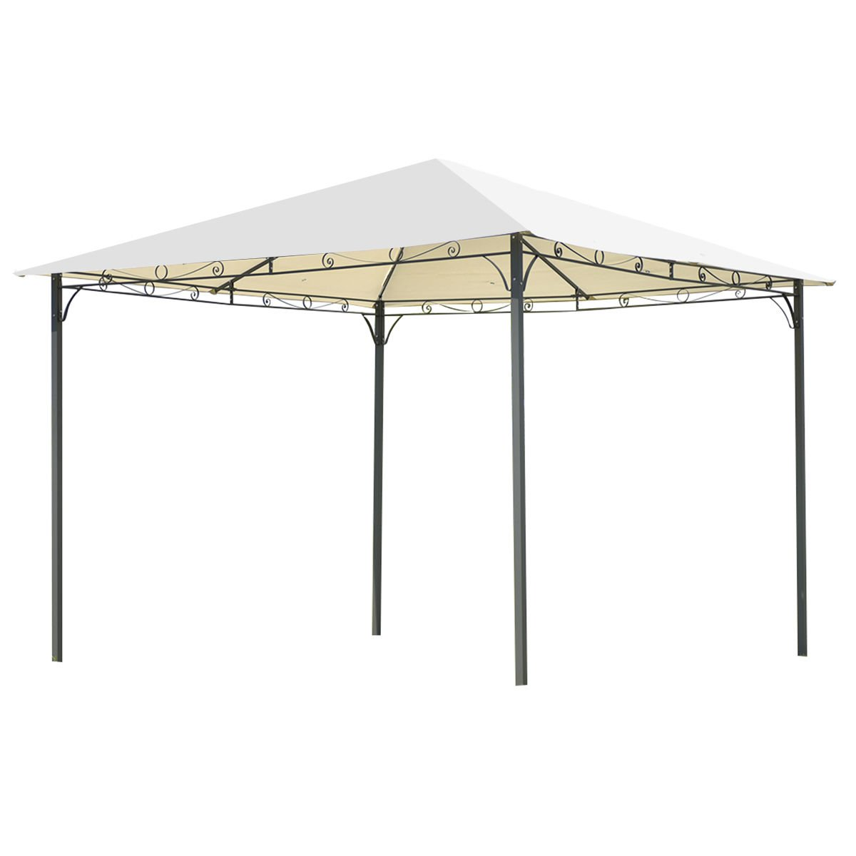 Tangkula 10'x10' Patio Gazebo Canopy Tent Shelter with Cover (Beige)