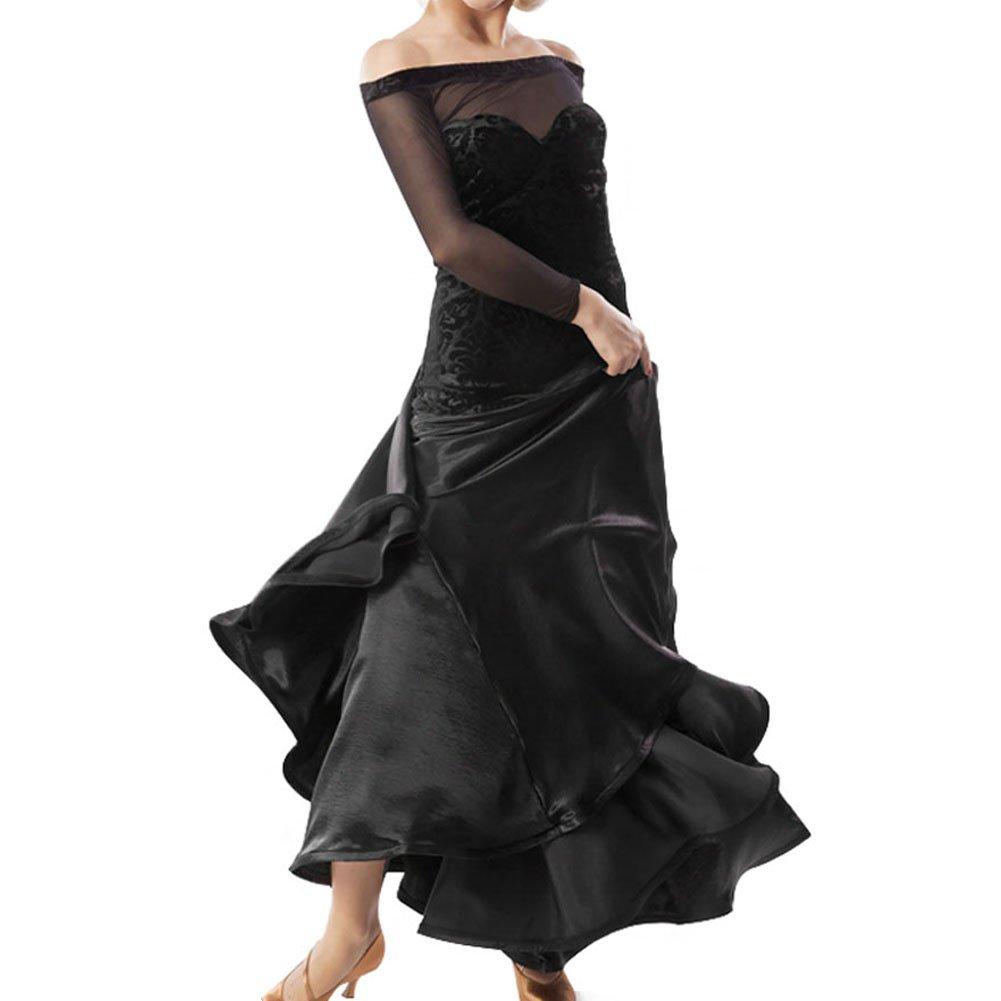 Noir YC Bien Femme Standard Piste de Danse Dance Competition Robes Bustier Dancing Costumes d'extension Jupe pour Femme Tango Valse Robes Moderne Dance Dress Large