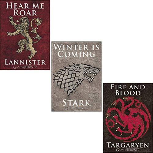 Game of Thrones Licensed Houses Refrigerator Locker Magnet Bundle, Lannister, Stark, Targaryen ()