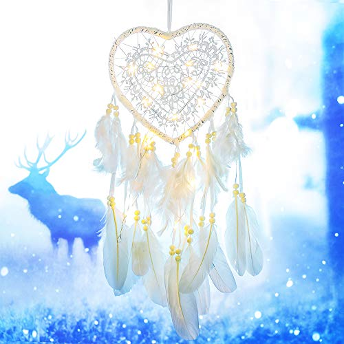 Tree Bud LED Dream Catcher, Handmade Dreamcatcher Feather Indian Wall Hanging Decoration, Ornament for Warm Homes and Kids Room Teepee Tents Décor (White-Love)