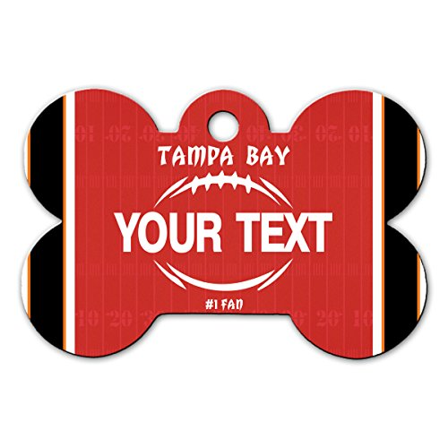 (BleuReign(TM Personalized Custom Name Football Tampa Bay License Plate Bone Shaped Metal Pet ID Tag with Contact Information)