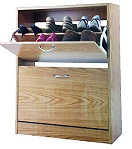 Free Standing 2 Tier Luxury Shoe Cabinet Made Of Wood Storage Organizer Part 49