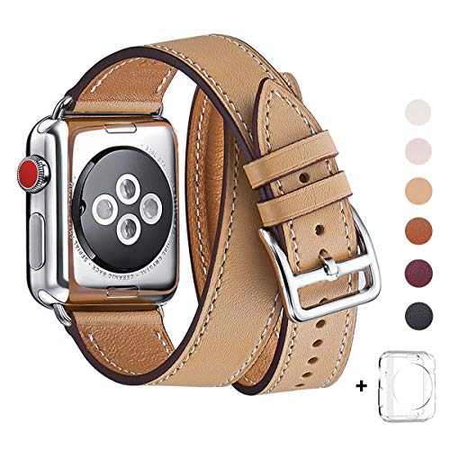 WFEAGL Compatible Watch Band 38mm 40mm 42mm 44mm, Top Grain Leather Double Tour Band for Watch Series 4/3/2/1 (Camel Band + Silver Adapter, 42mm 44mm) ()